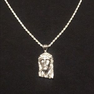 Silver Rope Chain and Jesus Piece .925 Italy